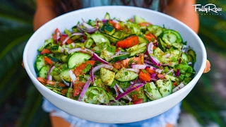 Delicious Mediterranean Fattoush Salad! Savory, FullyRaw, & Vegan!
