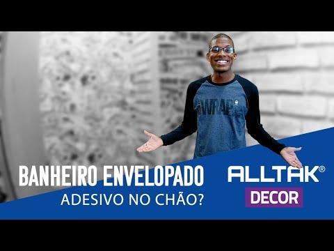 ENVELOPAMOS UM BANHEIRO INTEIRO | DICA DE DECORAÇÃO | ADESIVO NO CHÃO