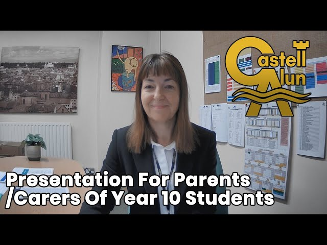 Presentation For Parents/Carers Of Year 10 Students
