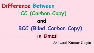 difference between to cc and bcc in email