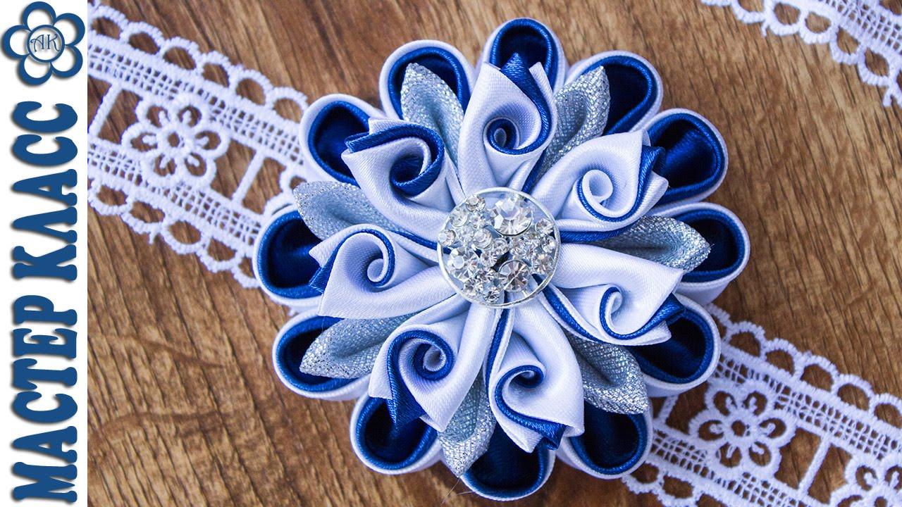 Фото цветка канзаши синего 21