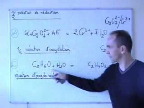 cours TS / solution / équilibrer une équation redox (dichromate + éthanol) - YouTube