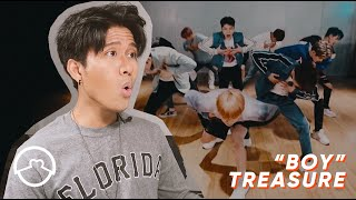 "Performer Reacts to Treasure ""Boy"" Dance Practice"