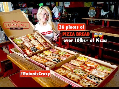 Pizza Supreme | 36 Slices of Pizza Bread Eating Challenge | EACH PIECE IS 5oz! | RainaisCrazy