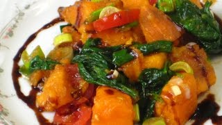 Теплый салат из батата со  шпинатом (веган)