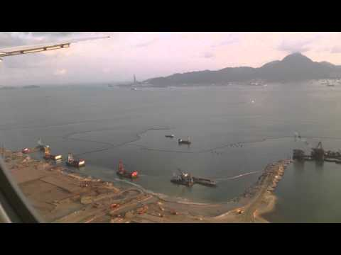 Cathay Pacific B777 approach and landing at Hongkong Airport - Chek Lap Kok