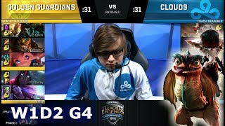 Golden Guardians vs Cloud 9 | Week 1 Day 2 of S8 NA LCS Spring 2018 | GGS vs C9 W1D2 G4