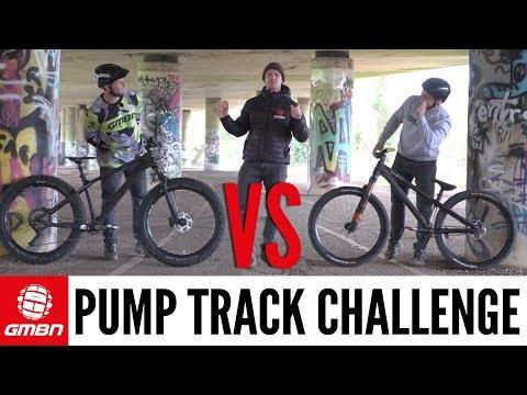 GMBN Pump Track Challenge | Fat Bike Vs Dirt Jump Bike