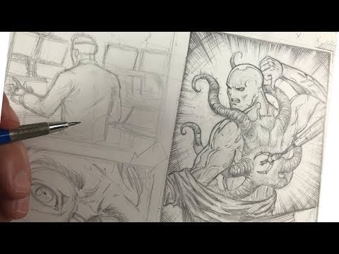How to Draw a Comic Book Page - Part 2 ( Refining the Sketch ) thumbnail