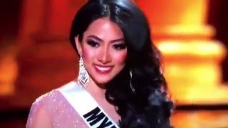 Miss Myanmar fell on the stage at Miss Universe 2015 Pageant