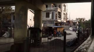 【車窓動画】 ミャンマー国鉄 マンダレー・セントラル駅を出発する 長距離列車