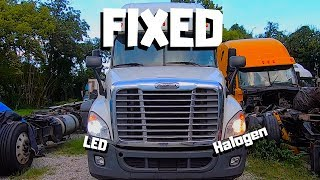 Download MECHANICAL DAMAGED Freightliner Cascadia Bought At Auction | LED VS Halogen Bulbs In Semi Truck Mp3 and Videos