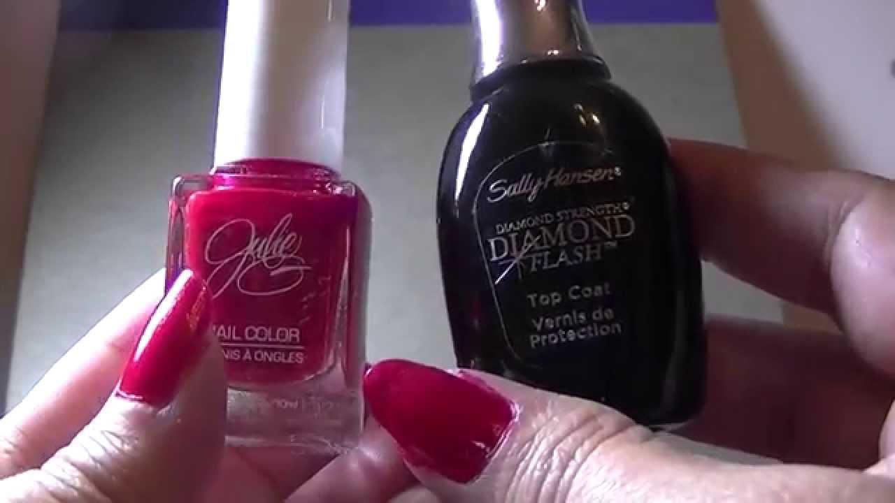 Julie G Big Red Bow Nail Polish with Sally Hansen Diamond Flash ...