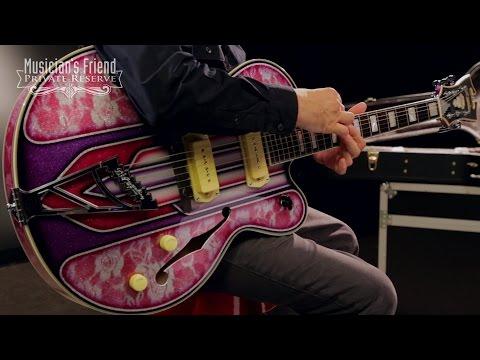 D'Angelico EX-59 Hollow Body Electric Guitar, Purple Art Deco