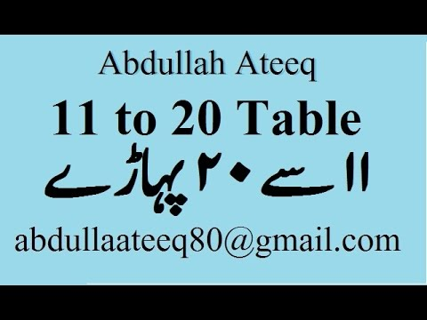 Printables 1to20table 11 se 20 urdu pahade youtube urdu