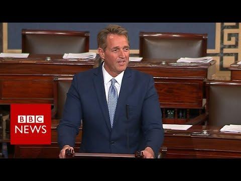 Retiring Senator Jeff Flake assails Trump - BBC News