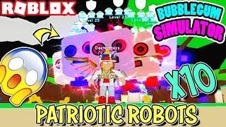 Full Team of x10 Patriotic Robots in Bubblegum Simulator (Roblox) - They Are SOO CREEPY!