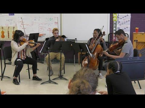 The Ann Walenta String Quartet Visits Brooks Magnet Middle School