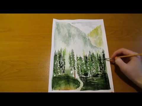Как нарисовать природу, горы, ели