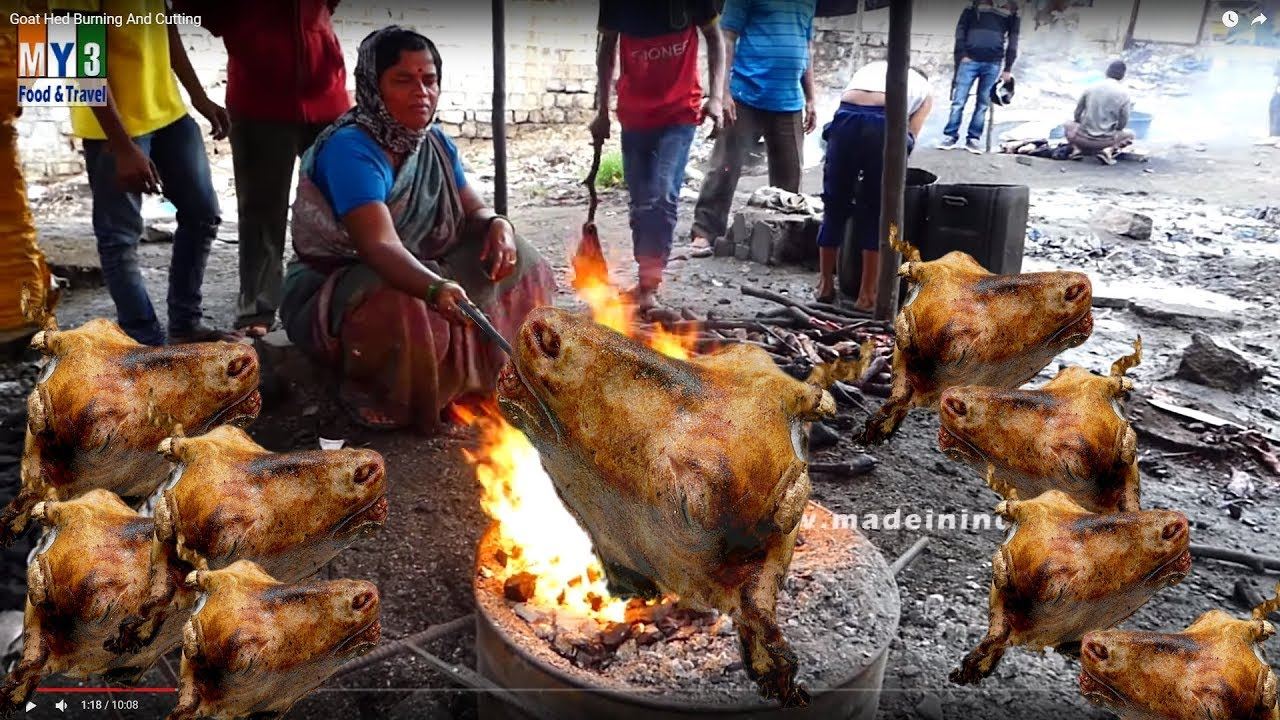 Unseen Video #Goat Head Burning And Cutting