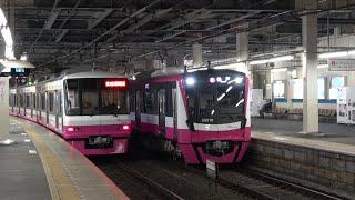 新京成電鉄80000形80016編成 夜の新津田沼駅を発車