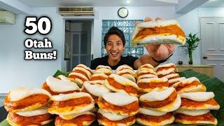 50 SPICY OTAH BUNS CHALLENGE!   Homemade Steamed Otah Buns Mukbang! Singapore Street Food!