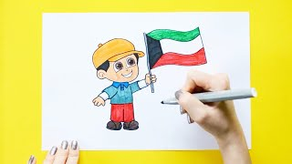 How to draw and color boy with Kuwait flag - Kuwait National Day