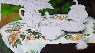 Pintura Em Tecido – Pintura Da Toalha Da Mesa