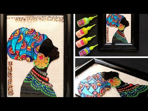 easy-diy-african-lady-silhouette-glass-painting-technique||create-statement-wall-decor-for-beginners