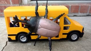 school bus under attack by a giant bug monster batman to the rescue killing the beetle