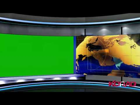 3D Virtual Studio with Green Screen Wall and motion Background - Free