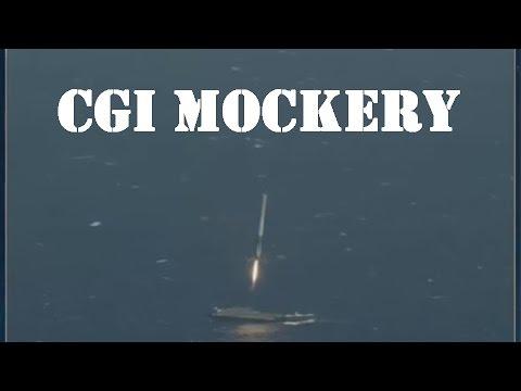 CGI SpaceX Falcon 9 Launch & Landing at Sea Hoax   NO WAY LOOK AT THE LANDING WTF FAKE CGI
