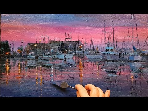 Boats Twilight - How to - Oil Painting - Palette Knife   Brush - Marina Dock Harbour Dusan