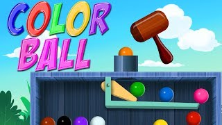 Learn colors with balls - Wooden hammer game - bouncing balls