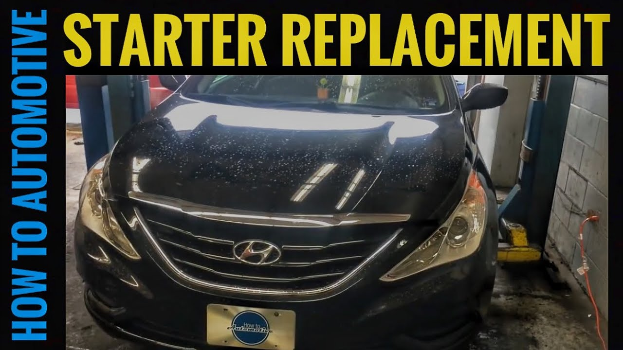 hight resolution of how to replace the starter motor on a 2009 2014 hyundai sonata with 2 4 l engine