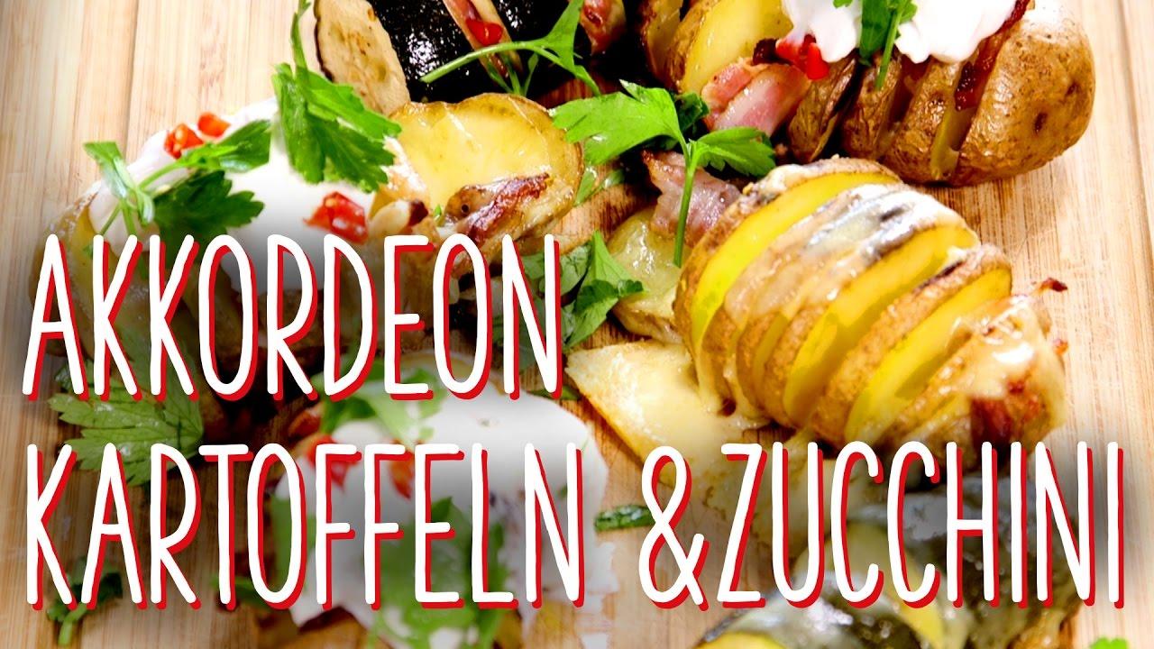 akkordeon kartoffeln & zucchini - beilagen für den grill - youtube