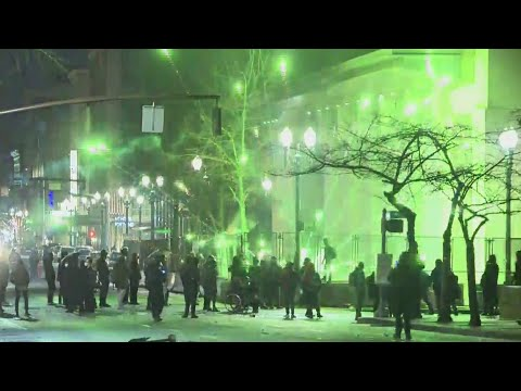 Riot declared: Protesters break windows, set fires in downtown Portland
