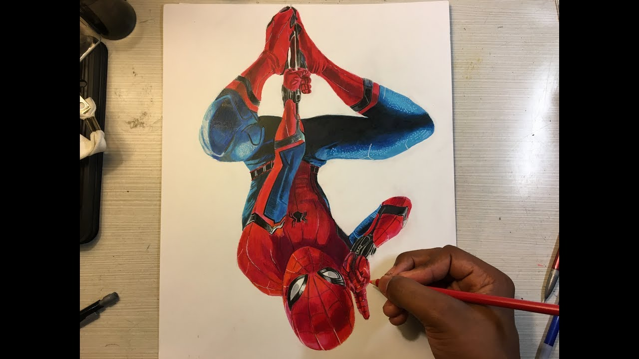 how to draw spiderman homecoming