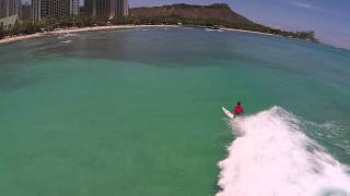 Drone captures Surfers off Waikiki