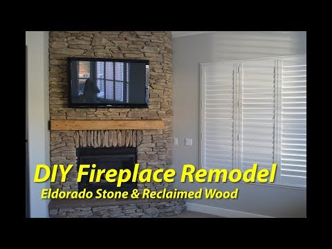 DIY Stone Fireplace Makeover with Reclaimed Wood Mantle