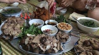 Tiết canh Vịt _ Thịt vịt Ăn với Lòng Dồi rất Ngon
