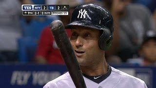 NYY@TB: Jeter misses bunt, breaks tie with RBI single