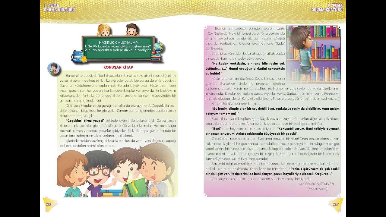 Konuşan Kitap Metni Etkinlikleri 4 Sınıf Türkçe Ders Kitabı Okuma