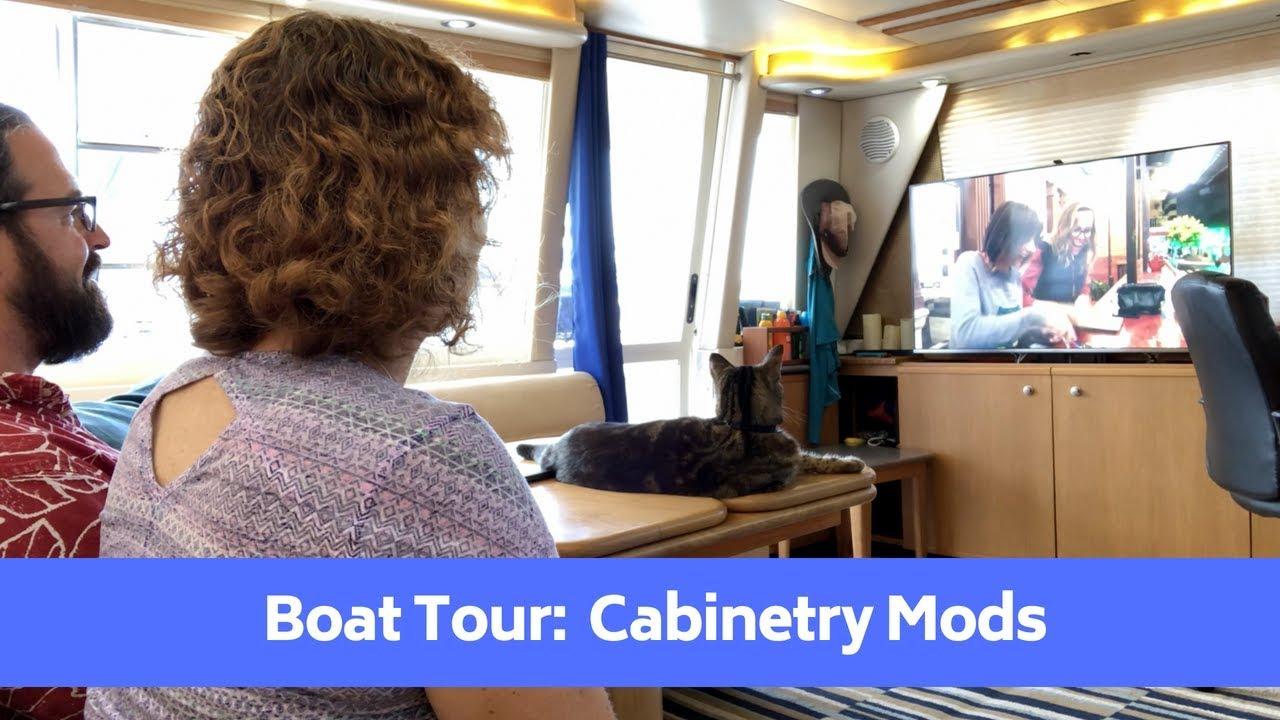 Boat Cabinetry Remodeling Tour Tv Lift Corner Desk Kitchen Bayliner 4788