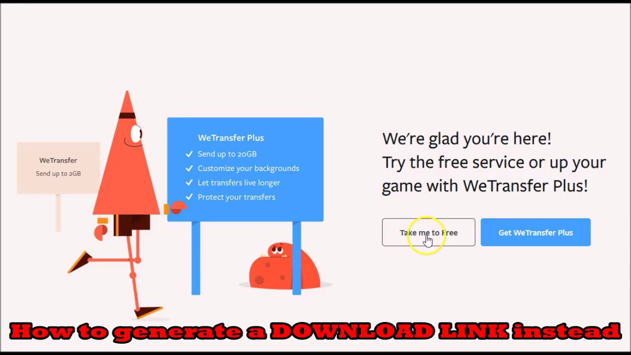 how to use the WeTransfer download link feature