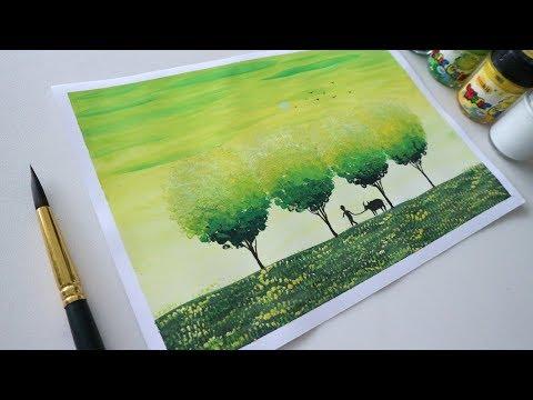 ART#22| Vẽ phong cảnh - Màu nước Thiên Long và giấy A4 thông thường | Watercolor Tutorial| Landscape