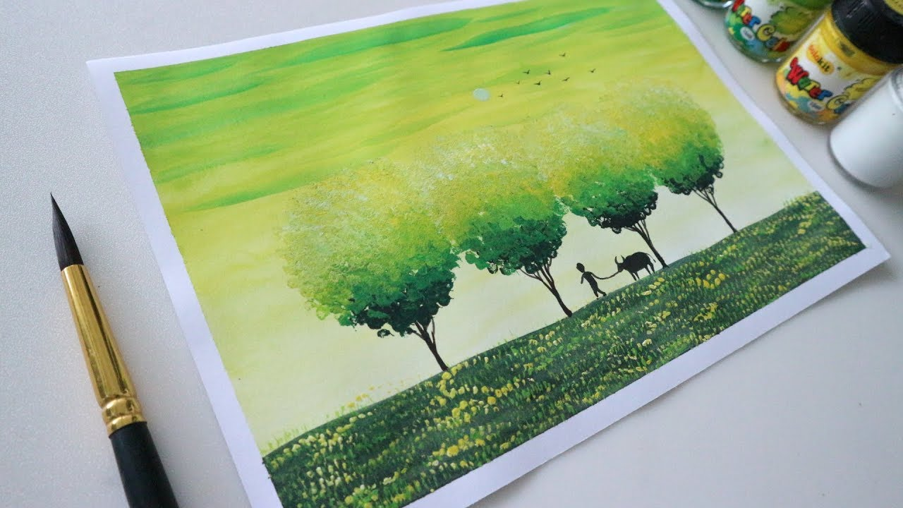 ART#22| Vẽ phong cảnh – Màu nước Thiên Long và giấy A4 thông thường | Watercolor Tutorial| Landscape | Tổng quát các thông tin nói về tranh vẽ phong cảnh mới cập nhật