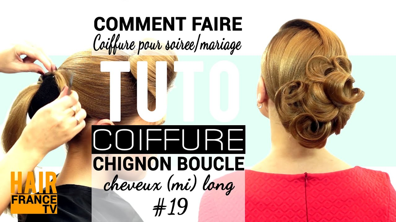 Chignon boucle. Coiffure soiree/mariage. HAIR France TV - YouTube