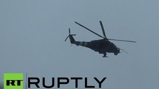 Video: Ukrainian military helicopters fire missiles on Donetsk intl airport(Intensive gunfire and blasts have been heard in the vicinity of Donetsk International Airport in eastern Ukraine, as fighter jets resume strikes at the self-defense ..., 2014-05-26T15:05:48.000Z)