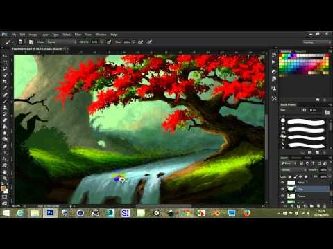 Landscape with flamboyent tree – Photoshop painting